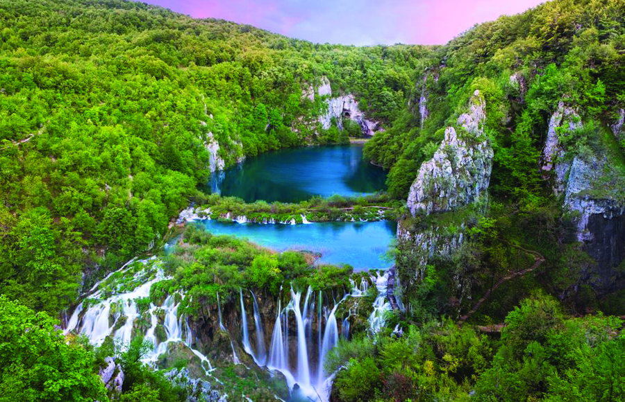 View on a part of Plitvice Lakes