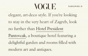 Vogue about Hotel President Pantovcak