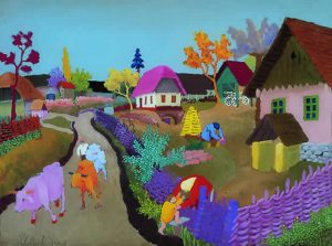 """The cows return"" by Slavko Stolnik, 1957, Museum of Naive Art"